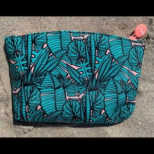 Ipsy palm trees clutch makeup travel glam bag